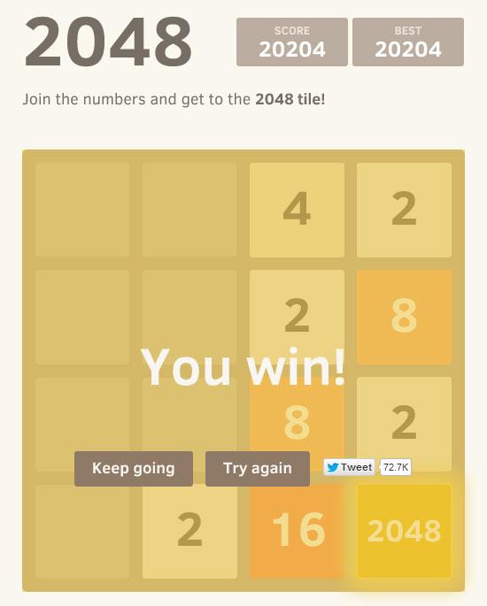 Le jeu 2048 terminé