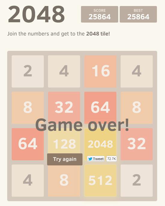 Aller jusque 4096 dans le jeu 2048