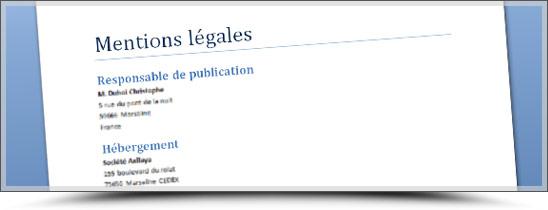 Mentions légales obligatoires sur un site web